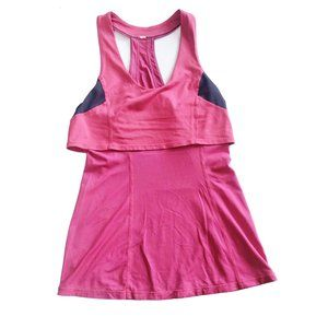 lemon Tank Top 2-Layer Pink Grey Racerback Stretch